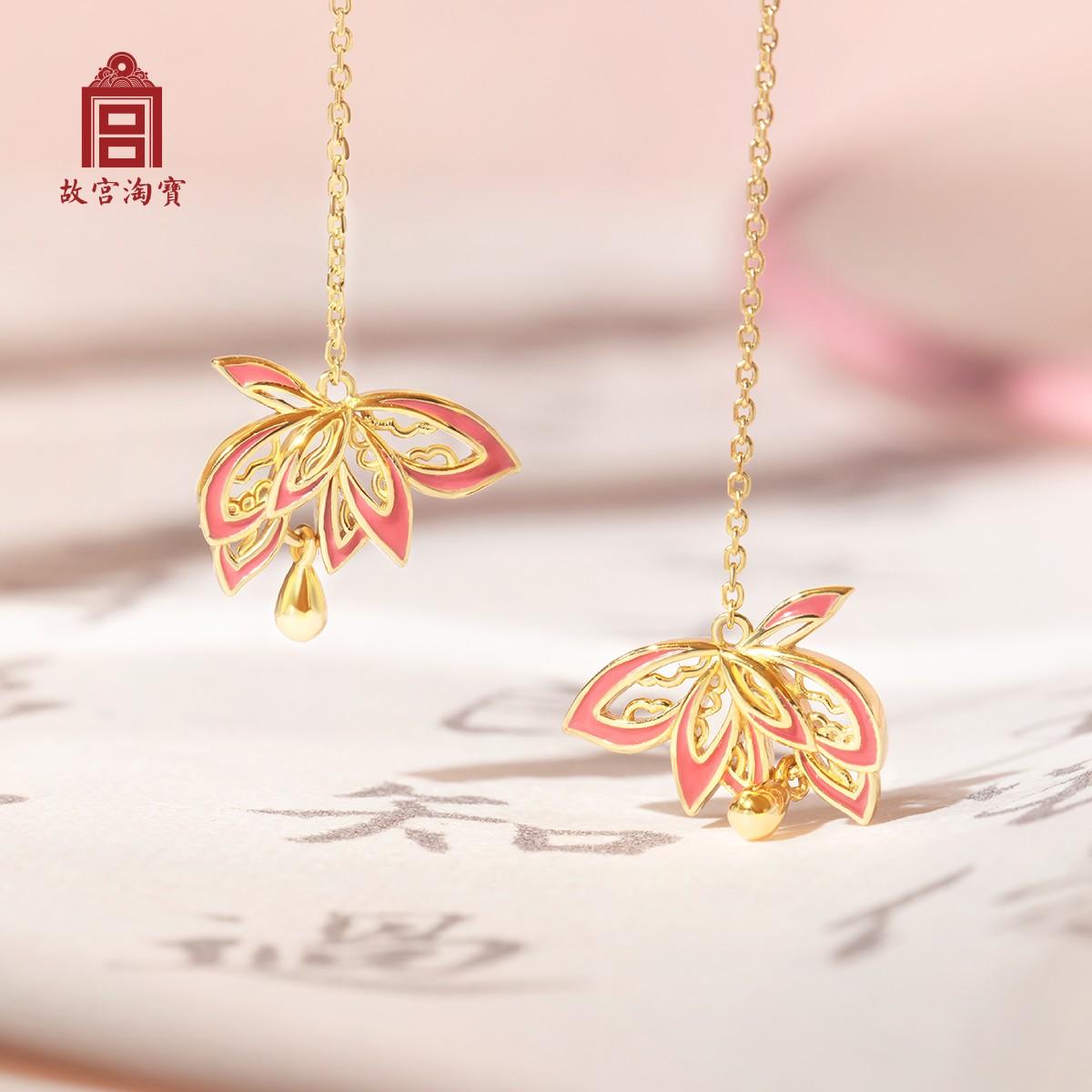 【故宫淘宝】勾莲耳线- 镀金中国风古风耳饰耳坠耳环长款显脸瘦