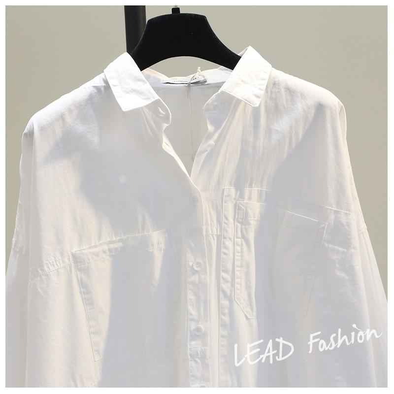 双口袋前短后长白色棉衬衫女2021春韩版宽松文艺bf风休闲衬衣潮