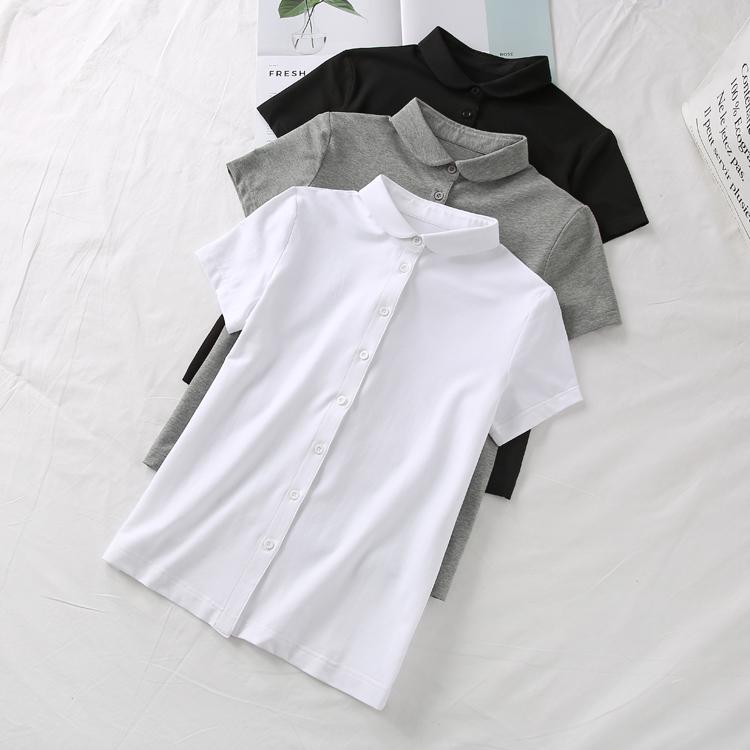 减龄小娃娃领不皱弹力针织新疆棉文艺复古衬衫女半袖夏季短袖上衣