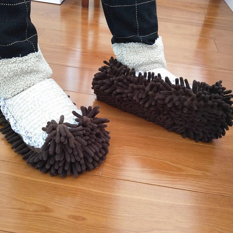 懒人拖鞋擦地拖地鞋套可拆洗家用女擦地拖鞋擦地板静音雪尼尔拖鞋