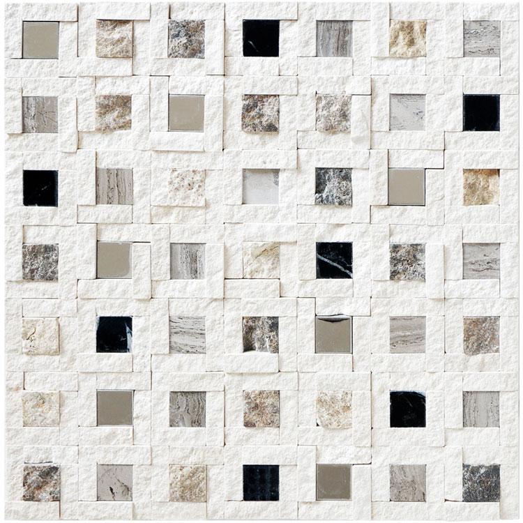 石材马赛克瓷砖天然大理石电视背景墙客厅玄关白色文化石拼图墙贴