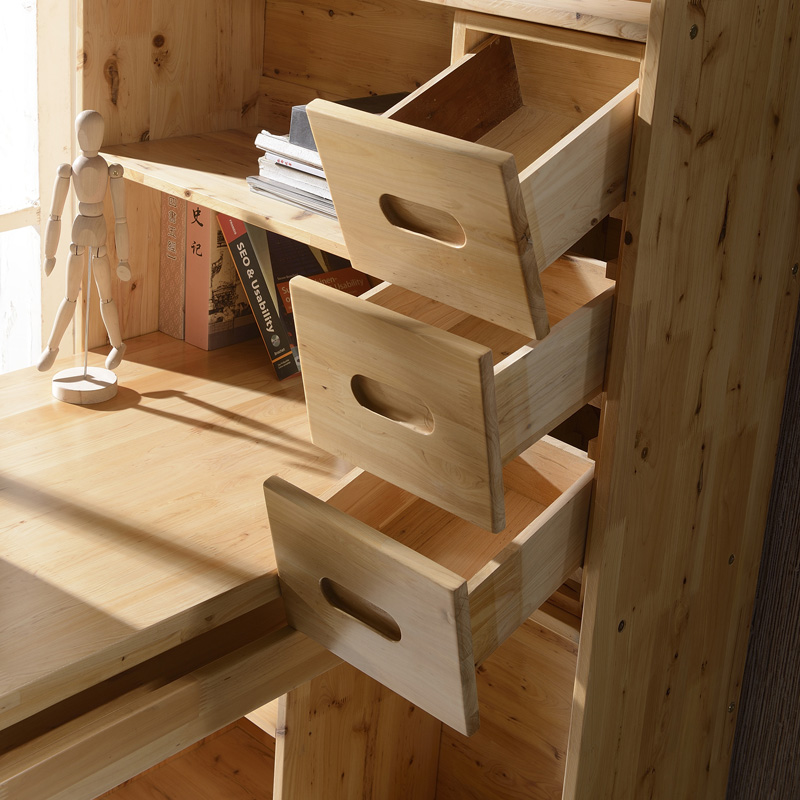 月光族全实木书柜伸缩书桌柏木连体儿童电脑桌柏木组合转角书柜