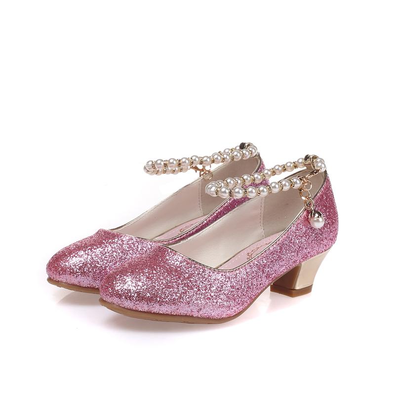 2018春秋款珍珠链条女童高跟鞋学生包头公主单鞋冰雪奇缘款表演鞋
