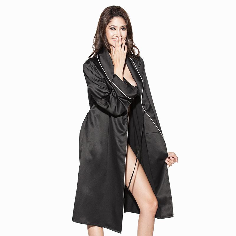 好奇小姐丝质黑色姓感睡袍女浴衣长款家居服女士日式和风睡衣浴袍