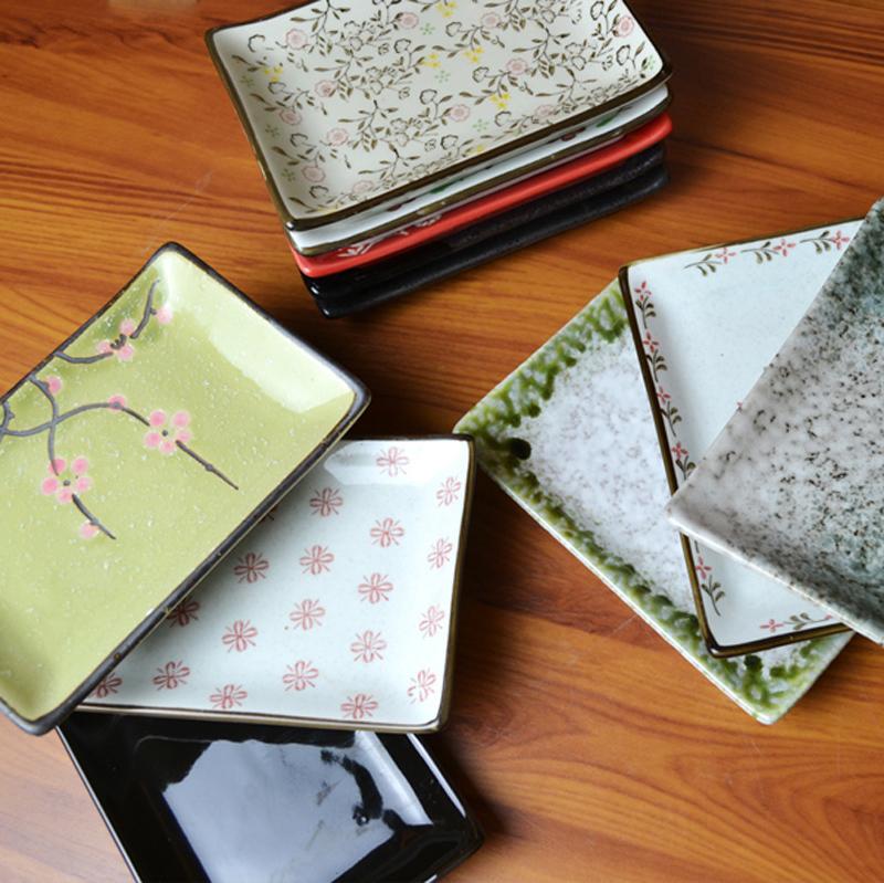 熱賣魚片碟日式碟子壽司骨碟小菜碟毛巾碟長方長方形平盤餐具陶瓷