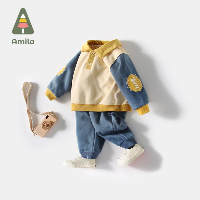 啊咪啦童装男童套装2021秋冬儿童帅宝宝洋气时尚卫衣长裤子两件套