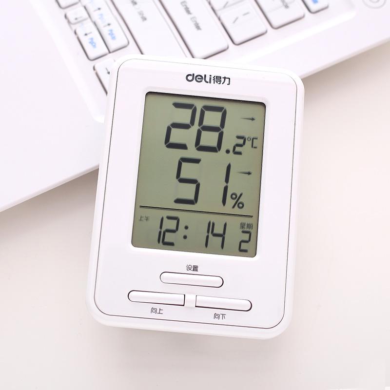 得力温度计家用室内婴儿房室外高精度电子精准温湿度计儿童带闹钟