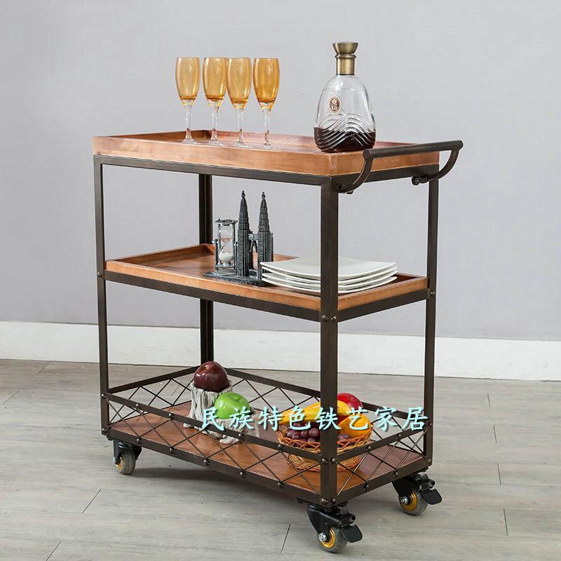 铁艺实木厨房置物架落地多功能多层烤箱架收纳架可移动餐车