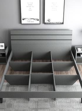 木月现代简约床北欧主卧架子床小户型双人床1.8m1.5m出租房板式床
