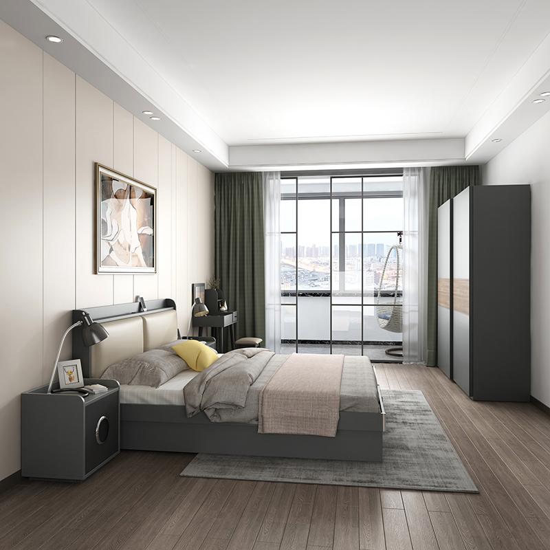 木月北欧床现代简约床主卧家具套装小户型婚床收纳高箱储物双人床