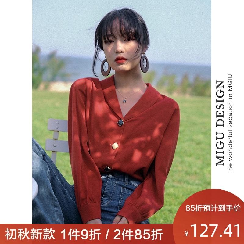 弥古法式红色衬衫港风设计感薄款长袖复古港味衬衣泡泡袖上衣女夏