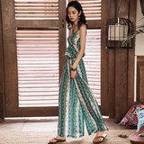 Miguxia female vacation set beach two-piece camisole top bohemian wide-leg pants Thai trousers