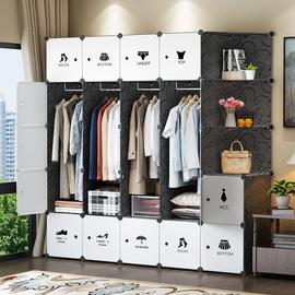 简易衣柜布艺组装出租房塑料实木挂家用卧室现代简约衣橱收纳柜子