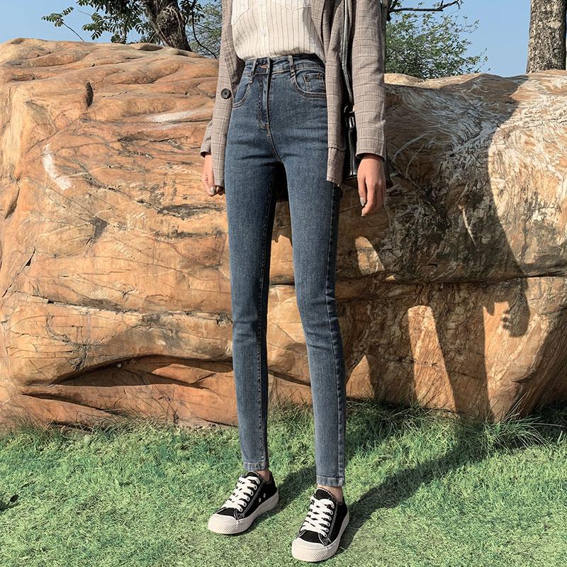 高腰牛仔裤女裤夏季薄款2020年新款修身显瘦黑色紧身九分小脚破洞