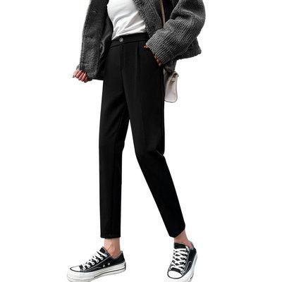 哈伦裤宽松直筒西装休闲高腰小脚九分显瘦黑色萝卜秋冬季加绒女裤 - 图3