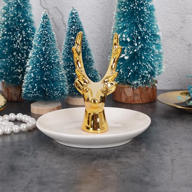 [淘寶網] 鹿頭首飾收納盤 北歐陶瓷首飾架 珠寶戒指托盤 ins金色家居擺件