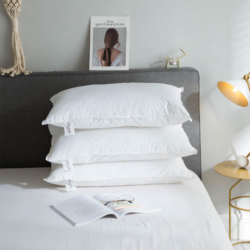 纯棉学生宿舍床整头枕头芯单人枕芯高枕套儿童低枕薄矮一只装一对