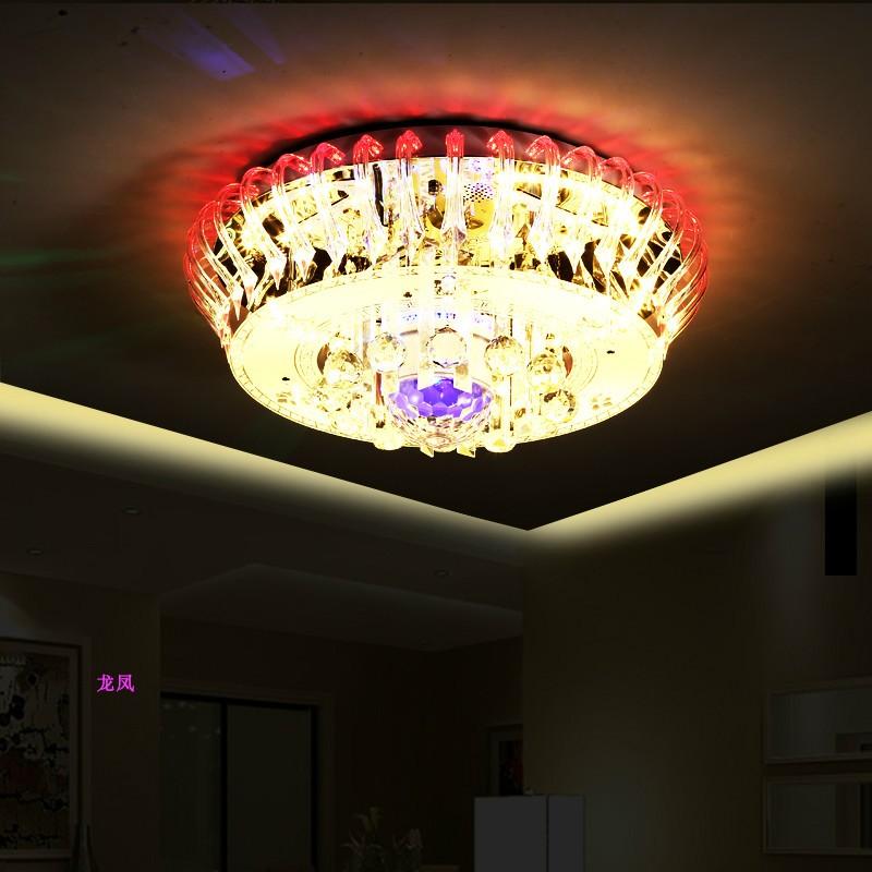特价新款客厅圆形水晶灯带蓝牙音乐大厅卧室饭厅七彩变光吸顶吊灯