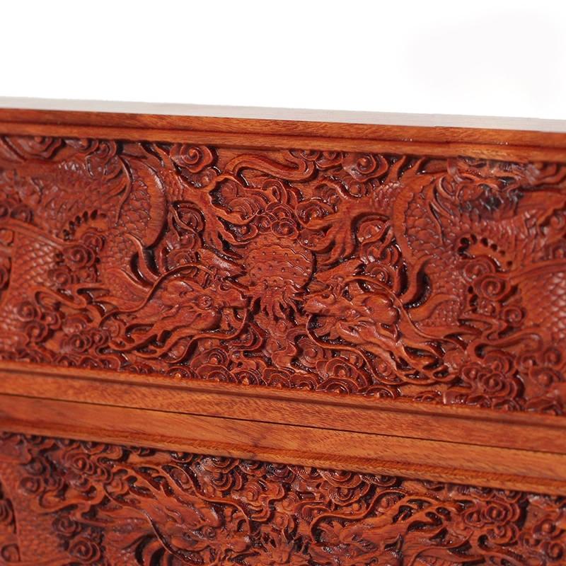 红酸枝木浮雕镇尺实木质书法雕刻龙