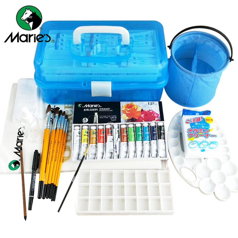 马利牌水粉颜料12件工具套装18色24色36色画笔包邮水粉画水彩颜料工具箱少儿美术培训专用初学者学生用马力