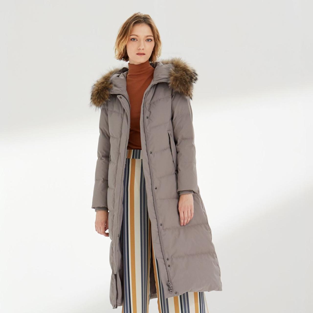 波司登大毛领羽绒服女长款过膝 冬季新品保暖加厚纯色冬装外套  2019