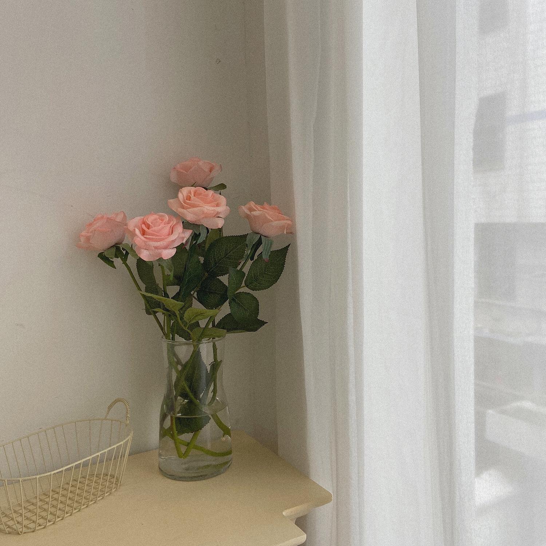 *丝丝小物*ins仿真保湿效果玫瑰花房间装饰仿真花桌面摆件玫瑰花