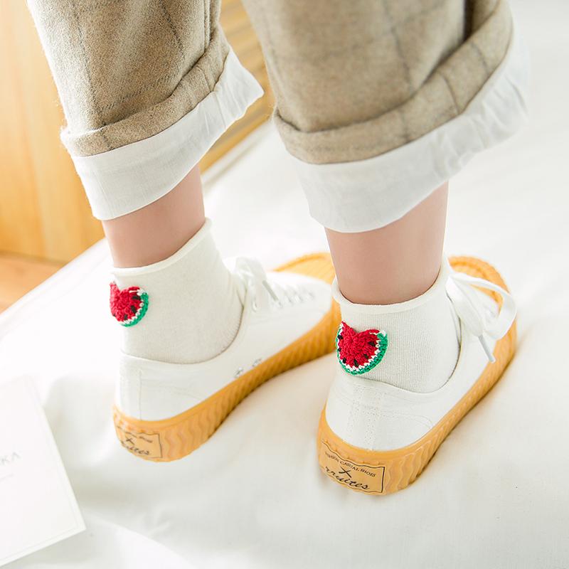 袜子女日系甜美纯色棉袜韩版可爱后跟水果刺绣少女公主低帮短袜