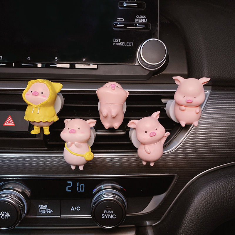 车载出风口装饰网红猪猪香薰空调可爱卡通摆件个性高档汽车用品女