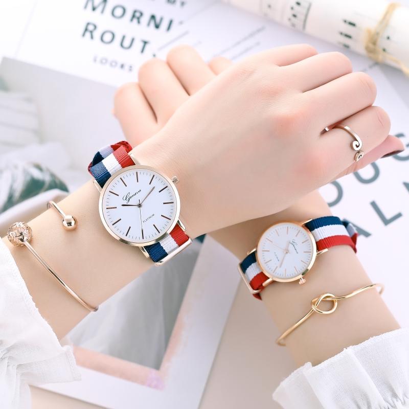 正品超薄防水帆布带石英男女手表男士腕表休闲学生情侣手表