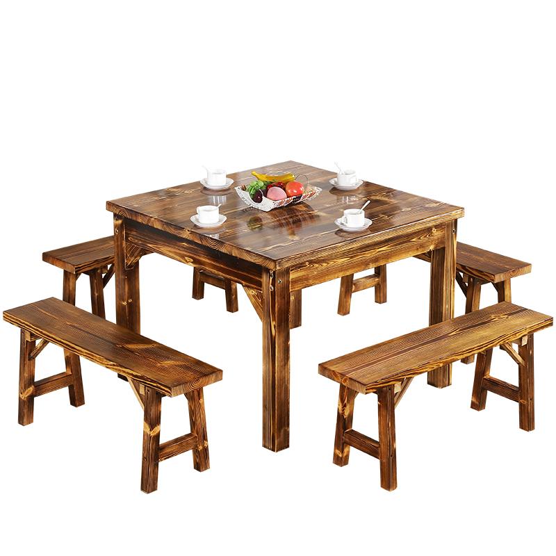 仿古八仙桌碳化木桌灯包邮特价 农家乐 饭店 餐厅 实木餐桌椅组合