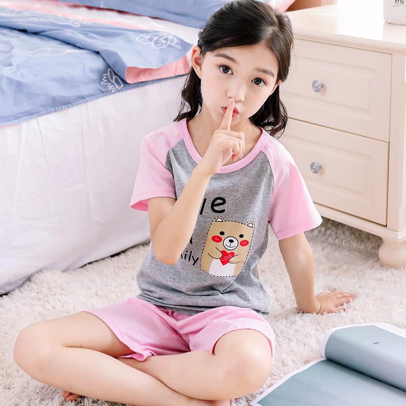 童装儿童睡衣女童家居服纯棉小孩短袖宝宝薄款女孩空调服套装夏季