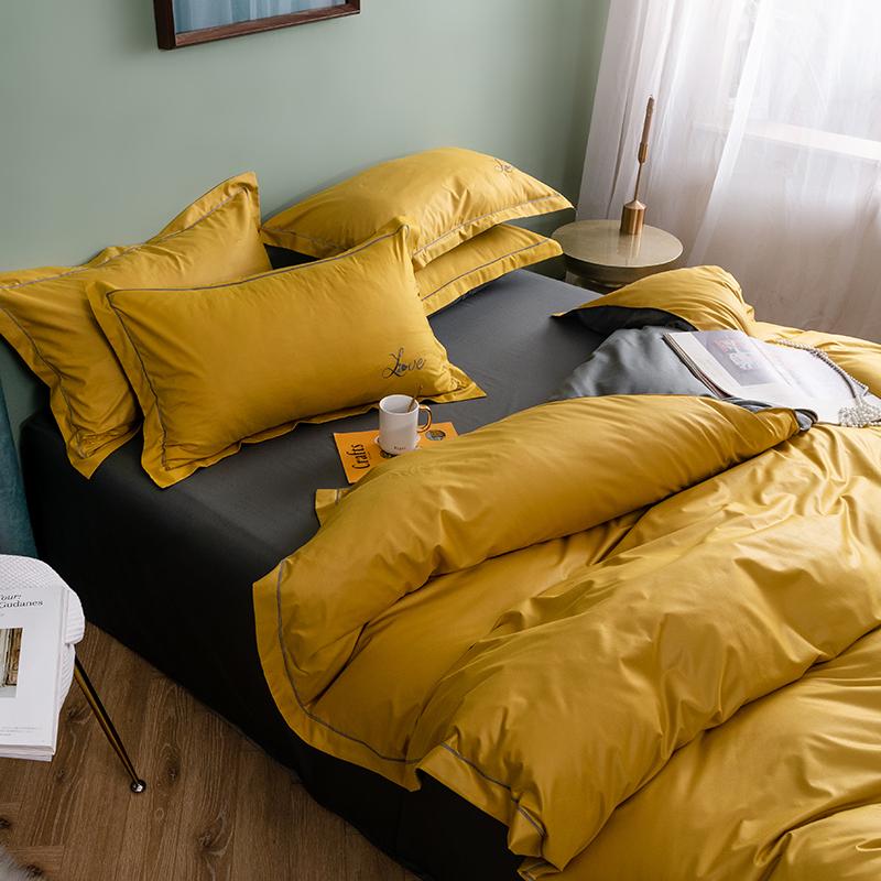 1.8m 米簡約全棉純網站紅秋冬床單被套 1.5 純棉床上用品繡花四件套