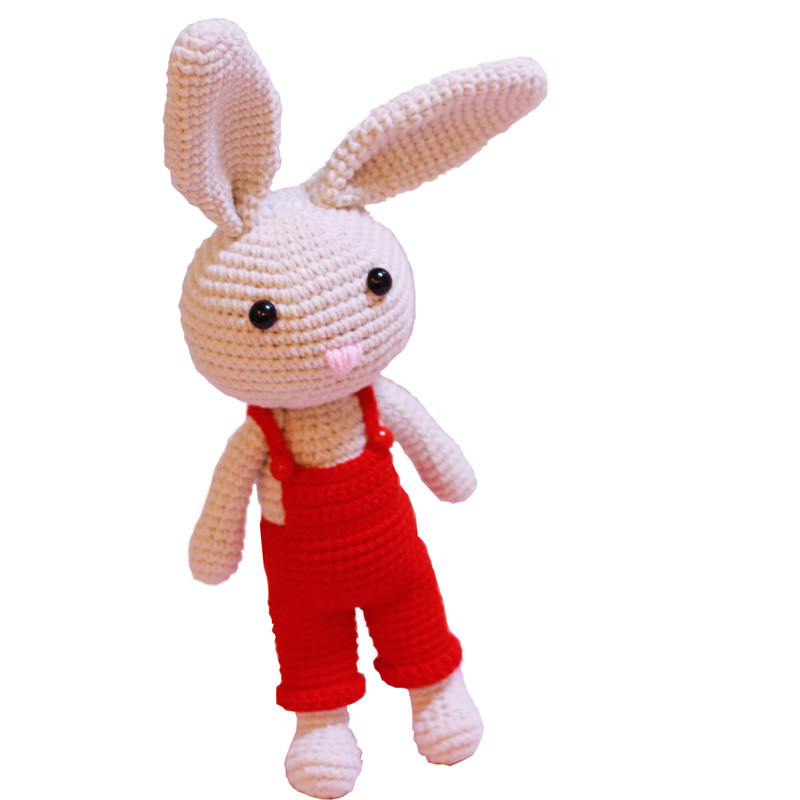 玩偶材料包长耳兔钩针编织毛线娃娃情侣兔 diy 拜托了毛线手工娃娃