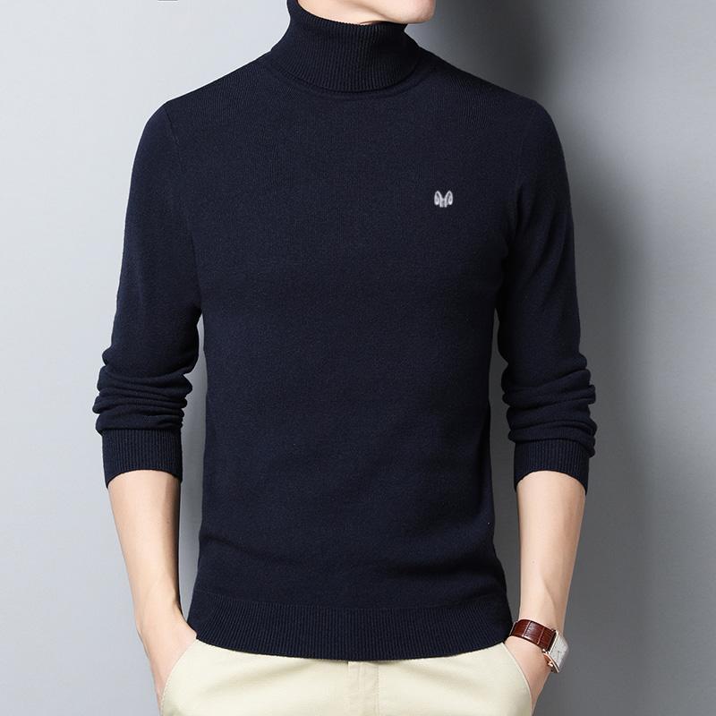 2019冬季新款加厚男士100%純羊毛衫可翻高領修身羊絨打底衫男毛衣