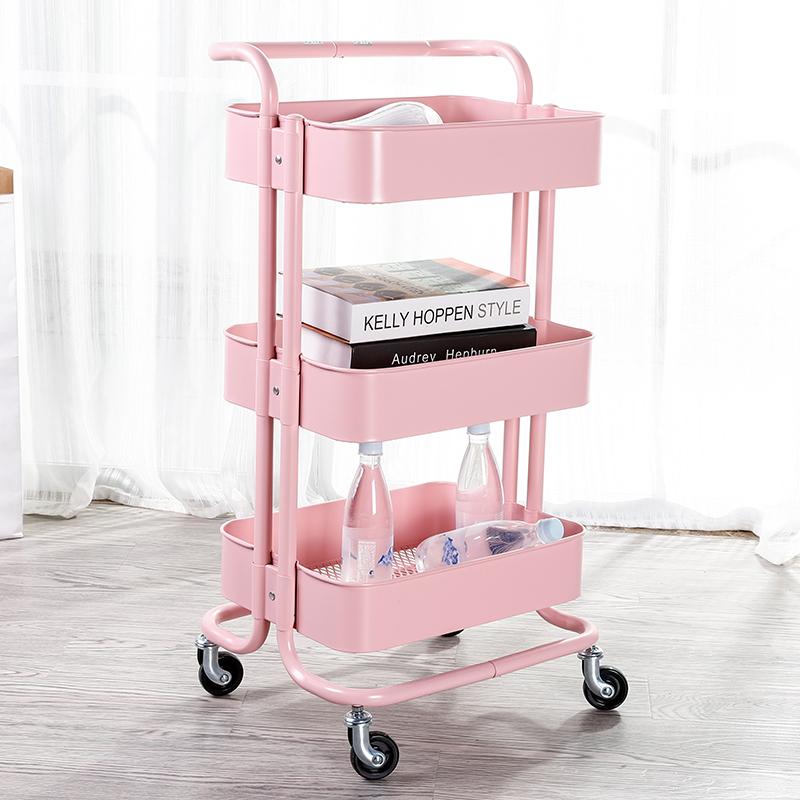 宜家置物架厨房卧室婴儿收纳架移动带轮储物架子多功能美容小推车