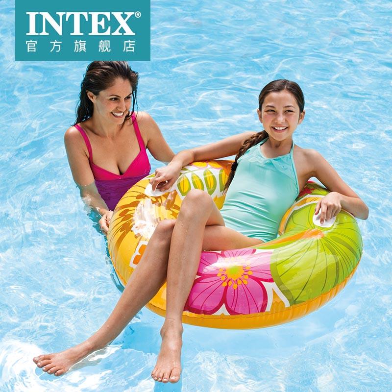 INTEX游泳圈大人游泳圈透明花色加大浮圈把手 男女游泳圈