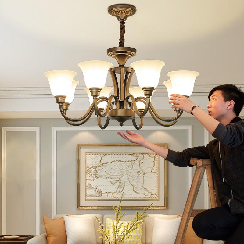 美式吊灯铁艺灯具美式简约卧室餐厅灯乡村复古书房灯饰北欧客厅灯