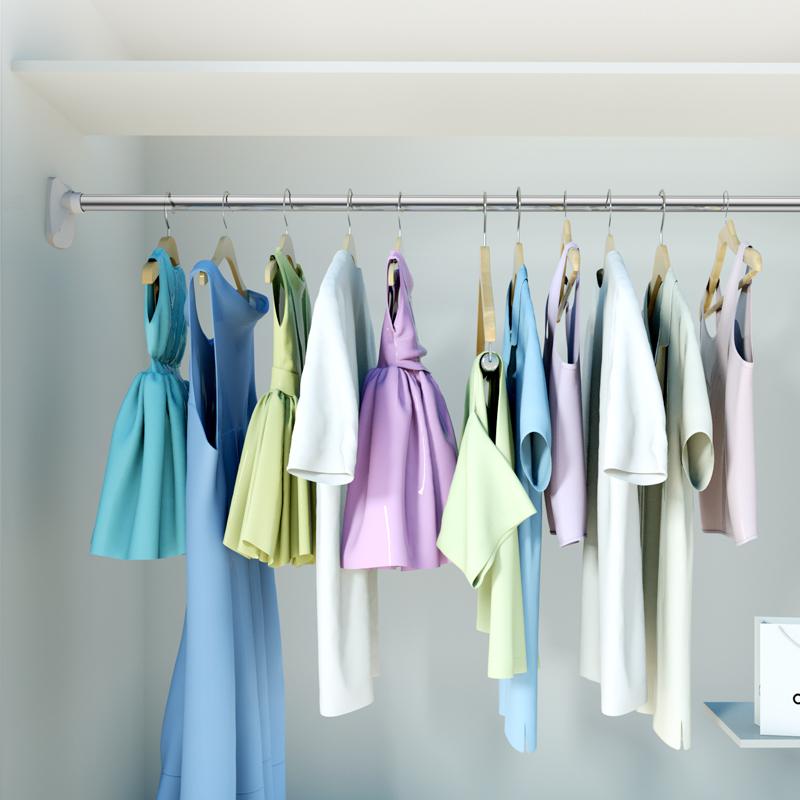 伸缩杆免打孔挂衣晾衣杆浴室卫生间架浴帘杆窗帘杆卧室衣柜撑杆