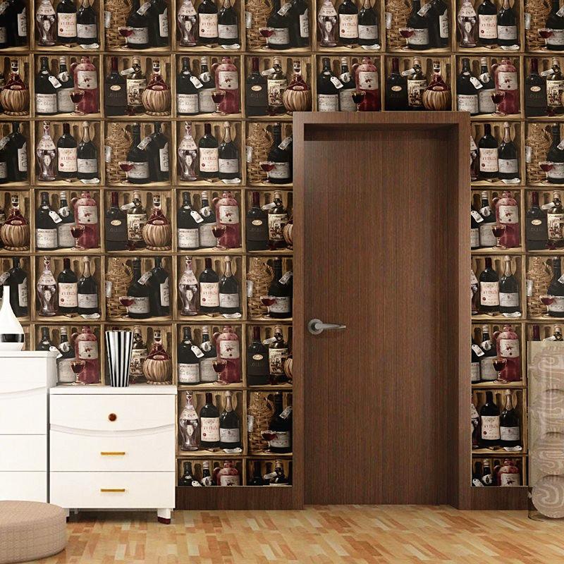 红酒瓶酒柜客厅酒吧咖啡馆背景墙纸红酒 KTV会所酒屋餐厅包厢壁纸