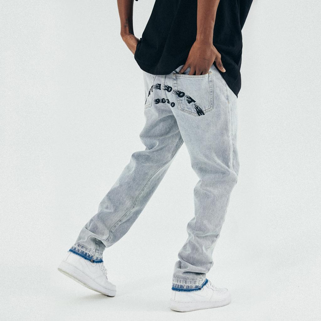 ANTIDOTE (SNAKELAB) 21SS 水洗蓝色磨边做旧刺绣直筒牛仔裤嘻哈