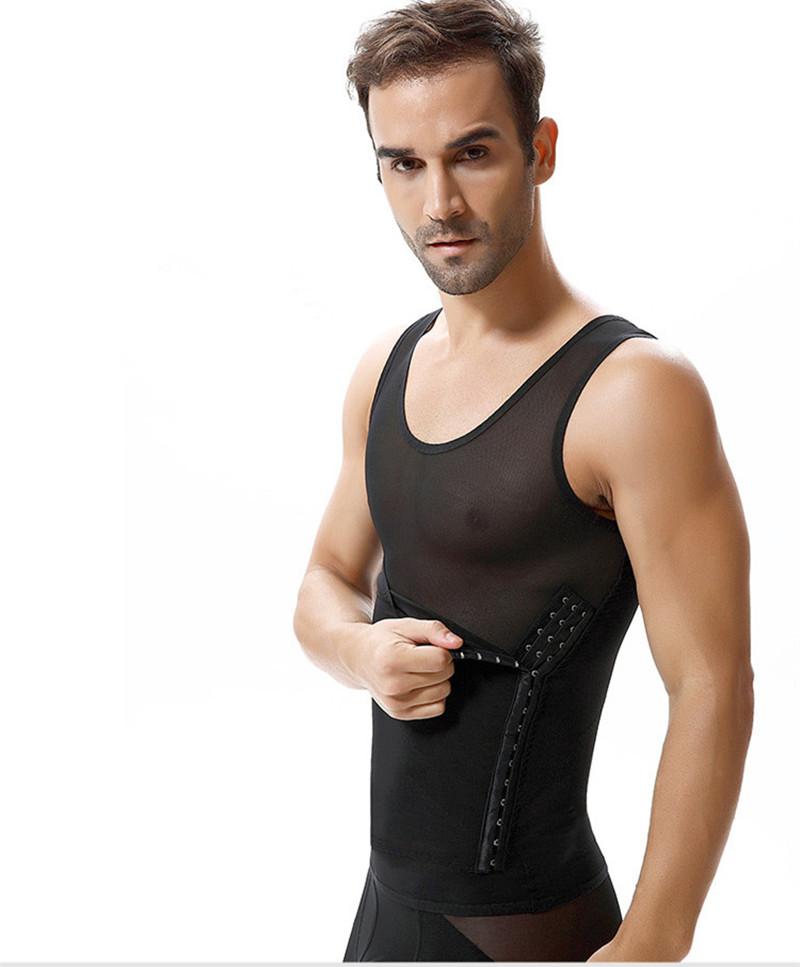 男士塑身衣收腹背心减啤酒肚紧身塑形美体内衣束胸超薄健身束身衣