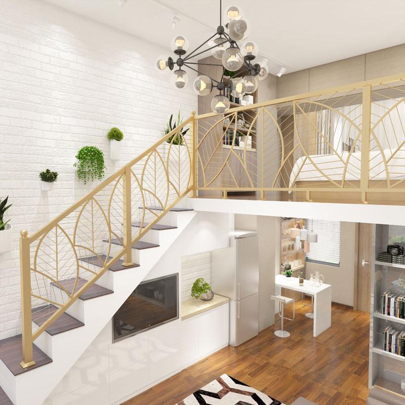 北欧铁艺阳台护栏飘窗围栏简约阁楼栏杆装饰楼梯扶手实木室内家用