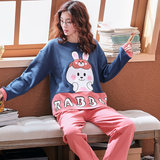 Pyjama women's spring and autumn cotton long-sleeved Korean version of women's clothing large size thin cotton two-piece set home clothing students winter