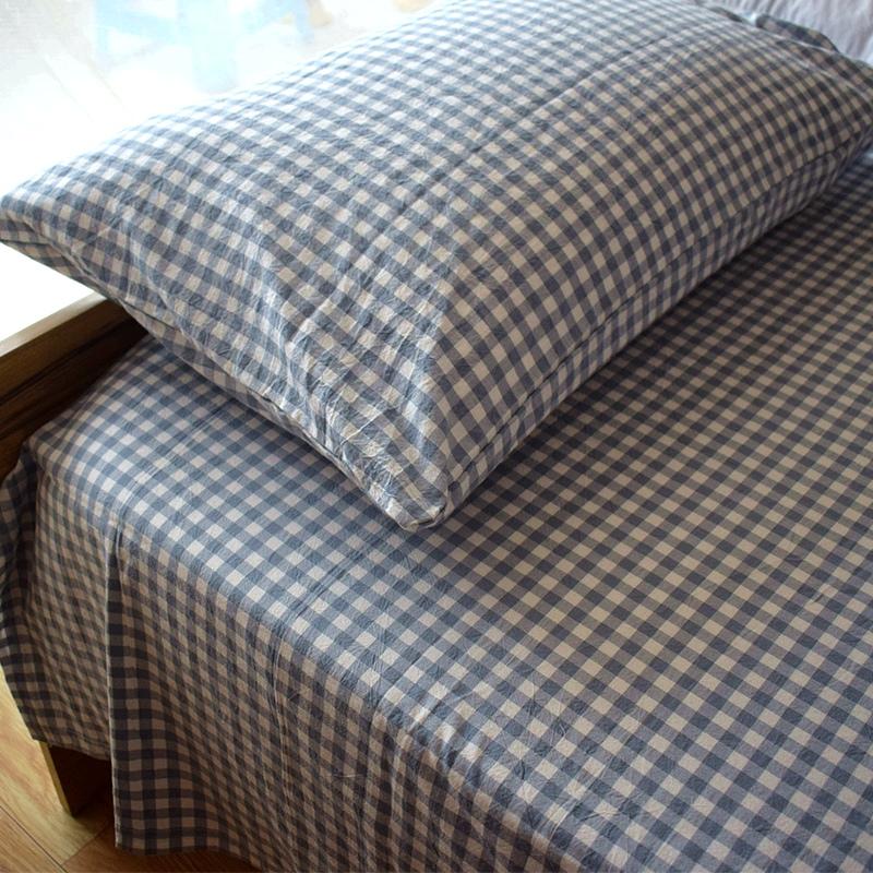 日式水洗棉纯棉格子床单单件 无印全棉新疆棉床罩床笠单双人床品
