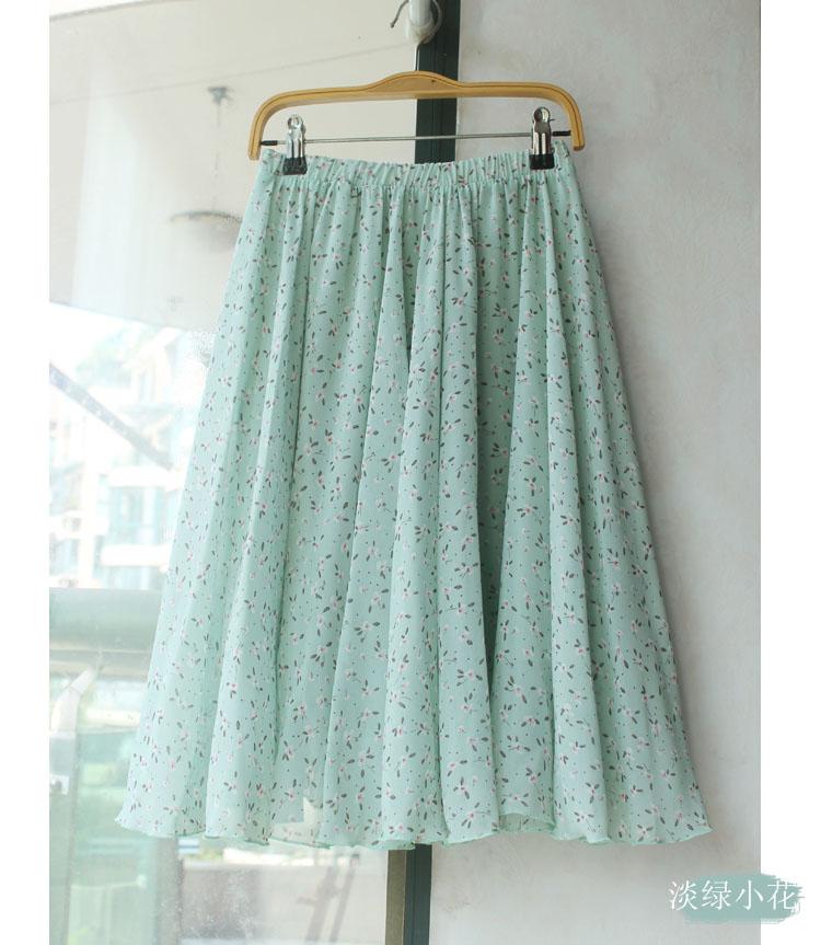 锦衣自制  小清新小碎花雪纺裙中长裙半身裙子