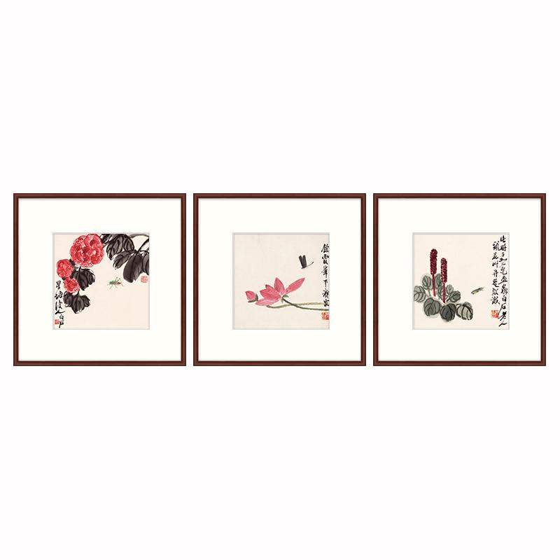 版画新中式餐厅装饰画客厅沙发背景墙挂画简约中国风风格齐白石