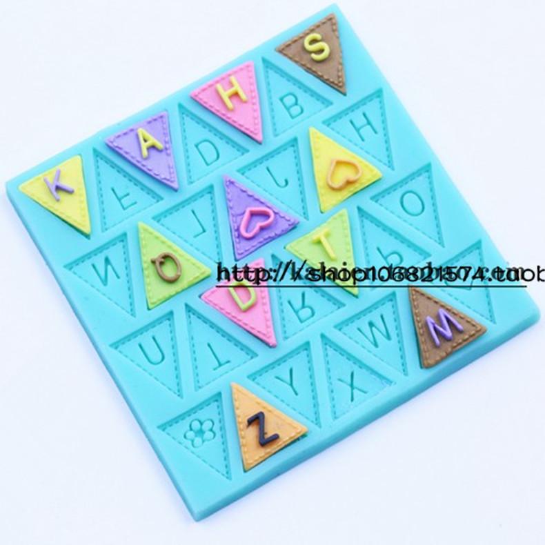 三角旗字母数字小旗子圣诞小彩旗硅胶翻糖 巧克力模具 烘焙蛋糕模