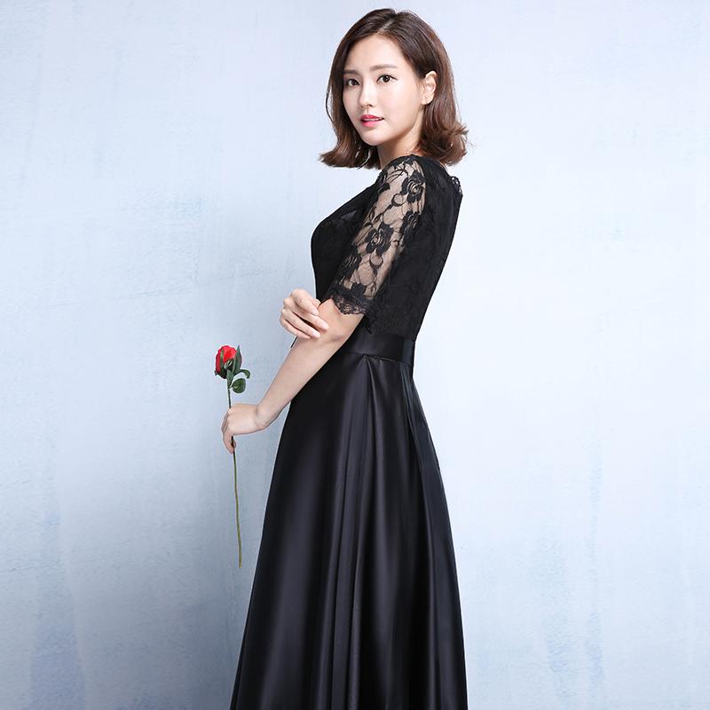 宴会晚礼服2017新款秋冬季长款时尚黑色显瘦连衣裙女长袖公司年会