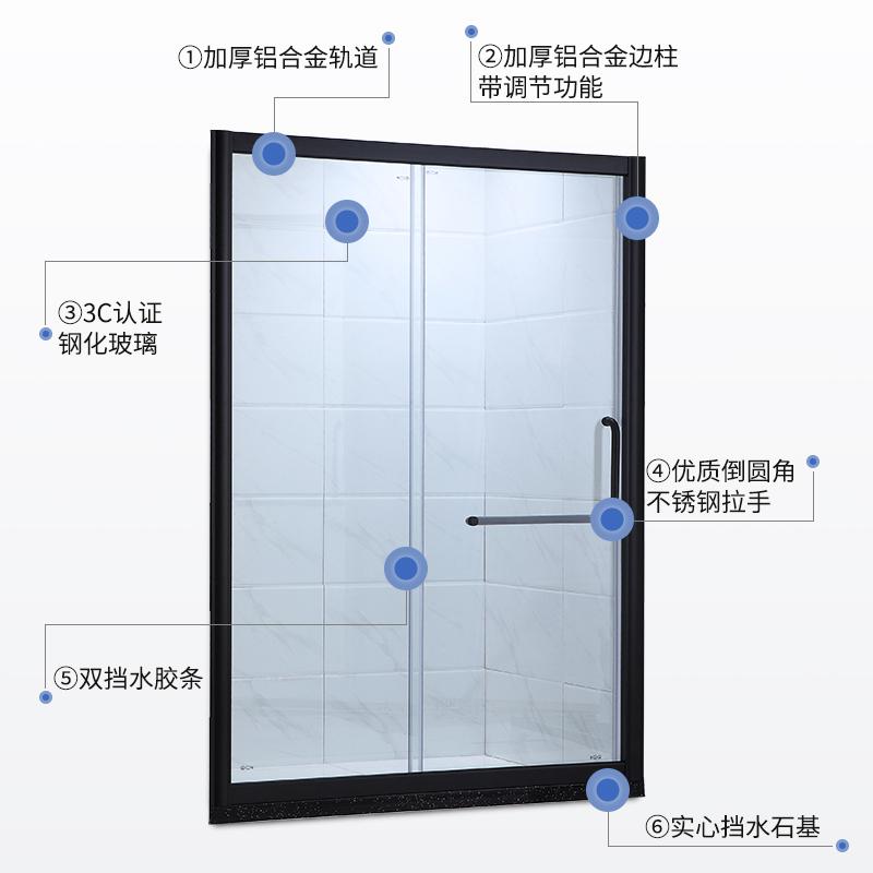 淋浴房  定制淋浴房 配不锈钢滑轮 定制淋浴拉门 铝框 S8702