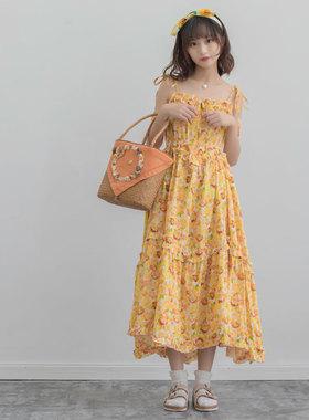 原创设计 向日葵印花连衣裙女碎花森棉麻度假不规则大摆少女感